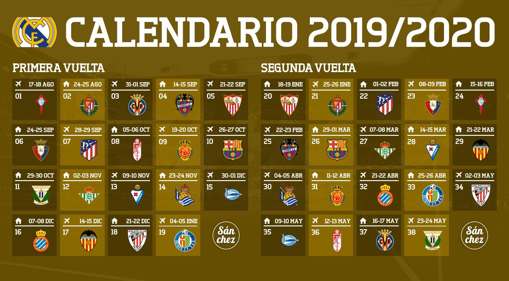 Calendario La Liga 2019.Noticias Calendario Del Real Madrid Para La Liga 2019 20 El